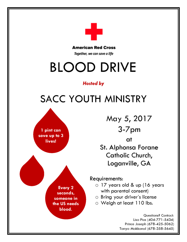 SACC Blood Drive Flyer